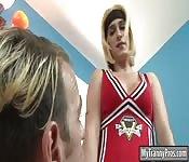 Big tits cheerleader shemale fucks coach