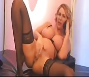 British cougar plays with herself