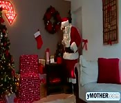 Naughty Santa fucks mom and daughter