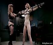 Lesbian in bondage anal fucked