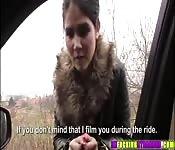 Brunette Czech Lady D rides dudes cock
