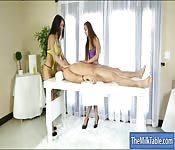 Two hot masseuses blowjobs clients cock