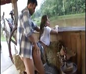 Brazilian cowgirl fucked in horse stall