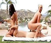 Outdoor Threesome For Oiled Up Beauties