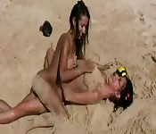 Sex play on the beach