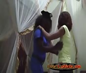 Ebonies Aisha and Lisha enjoy fingering