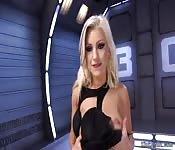Blonde in lingerie anal fucks machine