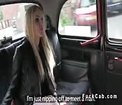 Busty blonde Brit bangs in cab in public