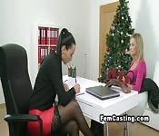 Blonde licks female agent in lingerie