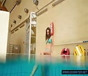 Hairy pussy teen Deniska in the pool