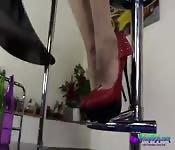 Hot MILF in nylon stockings