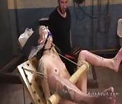 Brutal torment for brunette petite slave