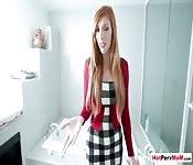 Busty redhead MILF stepmom loves to suck