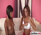 Ebony babes fingering and licking cunts