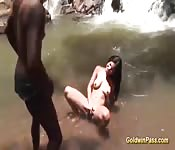 Dirty Brazilian babe banged by the water