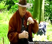 Teen outdoor fucking senior doggy style