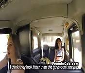 Brit lesbian fake taxi driver in oral