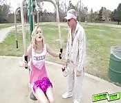 Horny dad licking Alexa Grace teen pussy