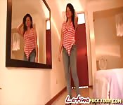 Latina babe hotel room doggy style fuck