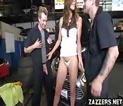 Hot Riylyn Rae fed by two big cocks