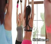 Redhead Asian licked by fitness coach