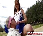 Skinny school girl in deep throat BJ