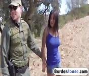 Latina babe gets drilled at the border