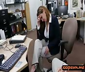 Foxy business woman railed by pawn man
