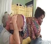 Black BBW Has a White Cock Jammed in Her Pussy