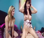 Horny milfs with lovely melons love to ride it