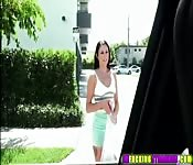 Amazing brunette Megan rides dudes cock