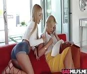 Horny Katy licks hot mom Bellas pussy