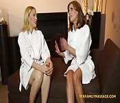 Two hot babes give nuru massage