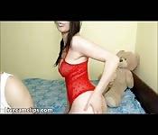 Brunette teenage slut on a big cock ride