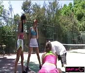 Red haired babe fucked at tennis court