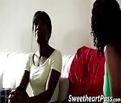 Ebony hotties having lesbian fun