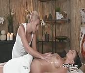 Trimmed babe got lesbian massage