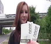 Chestnut Czech amateur bangs outdoor pov