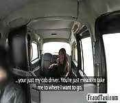 Sexy amateur Ebony babe sucks and fucks in taxi