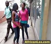 Ebony babes enjoy pussy licking action