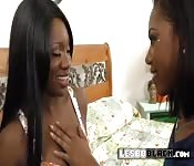 Ebony chicks delight each other