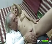 One Armed Guy Fucks Young Blonde Slut