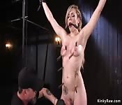 Immobilized in metal device babe whipped