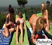 Four big boobs women group sex outdoors