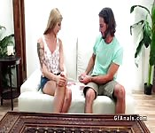 Blonde girlfriend plays with butt plug
