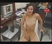 Tiny brunette amateur takes two cocks in the office