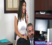 Stepdaughter office reverse cowgirl