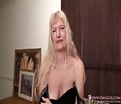 Old granny Cindy hairy pussy masturbation
