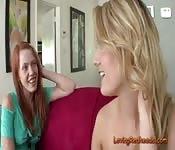 Blonde Shows Her Redhead Friend Her Toy