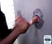 Slutty whore in the glory hole